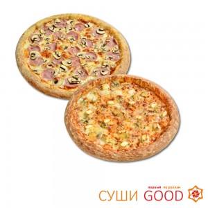 Пицца Ветчина-грибы + пицца 4 Сыра 399 руб, выгода 349 руб.