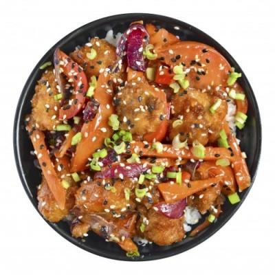 Курица с рисом в кисло-сладком соусе