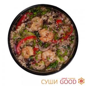 Рис с креветками в соусе терияки