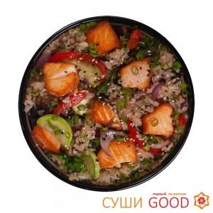 Рис с лососем в соусе терияки